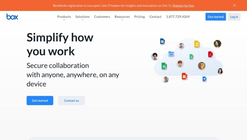 Screenshot of www.box.com