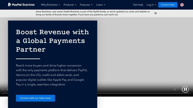 Screenshot of www.braintreepayments.com
