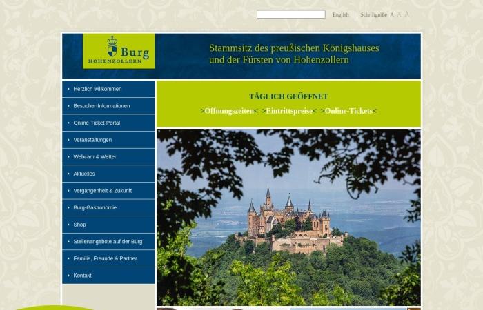 Screenshot von www.burg-hohenzollern.com