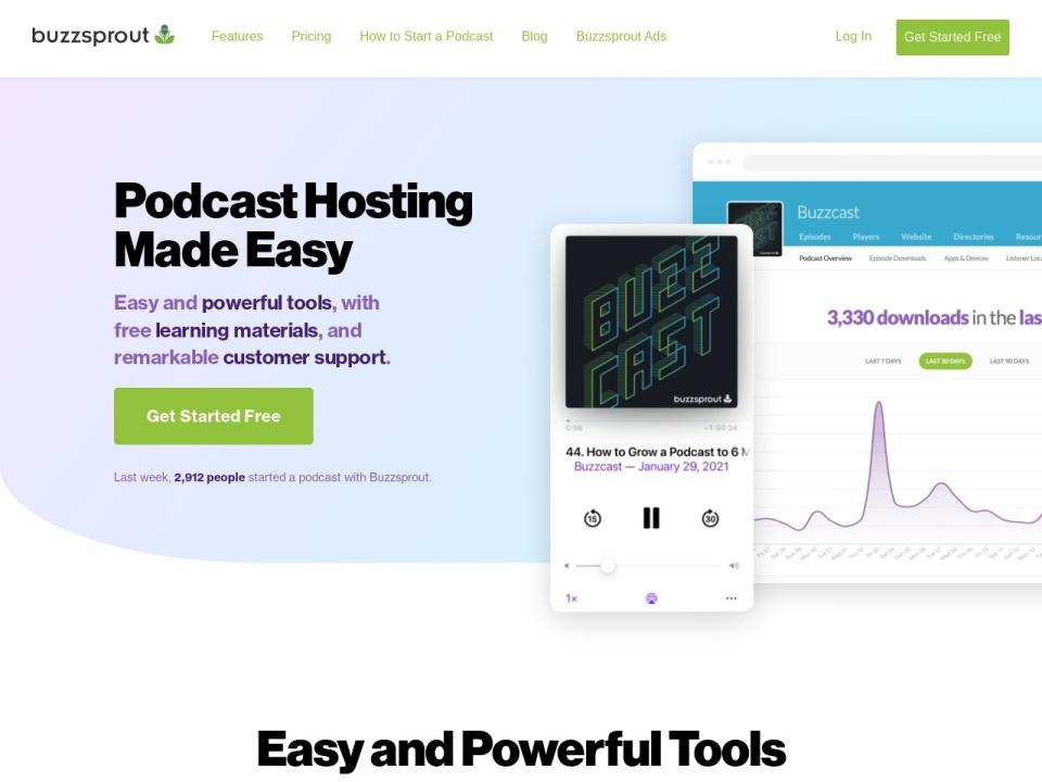 Screenshot of www.buzzsprout.com