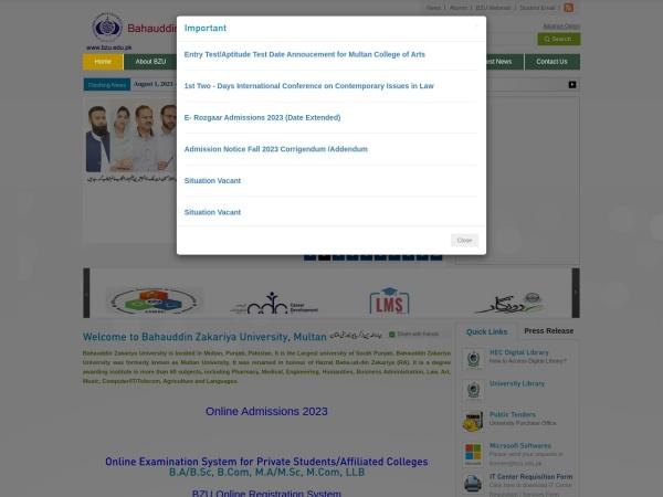 Screenshot of www.bzu.edu.pk