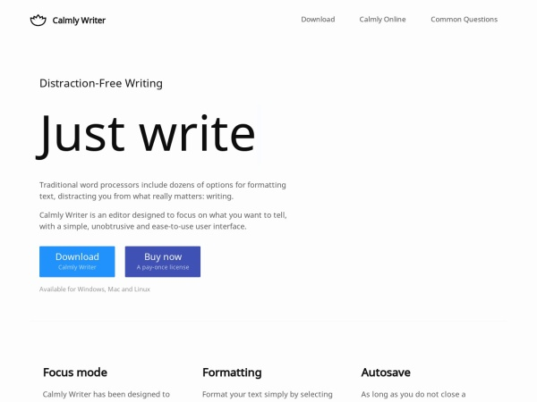 Calmly Writer distraction-free writing software