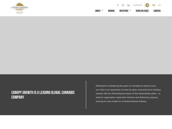 Screenshot of www.canopygrowth.com