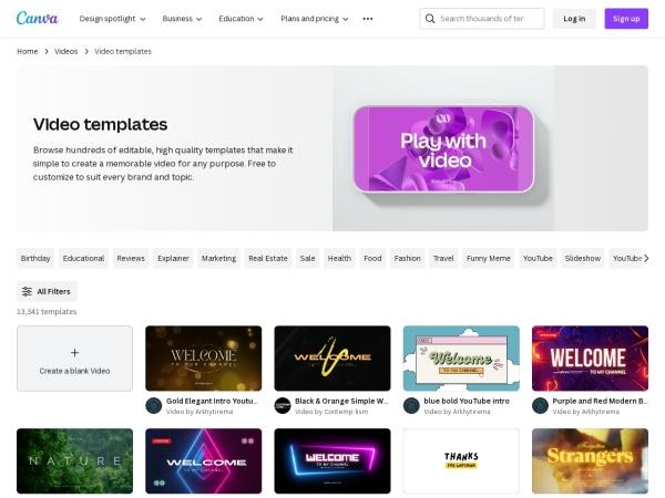 Screenshot of www.canva.com