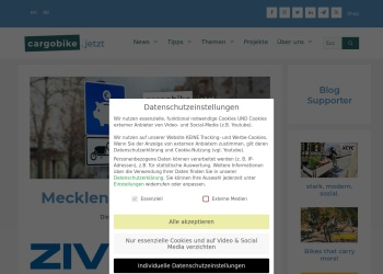 Screenshot von www.cargobike.jetzt