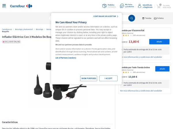 Captura de pantalla de www.carrefour.es