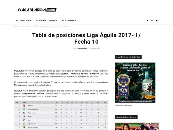 Captura de pantalla de www.casablancasports.com