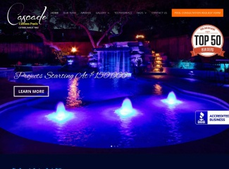 Screenshot of www.cascadecustompools.com