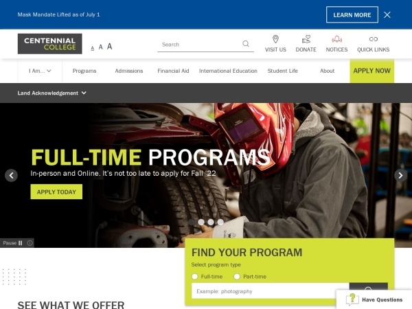 Screenshot of www.centennialcollege.ca