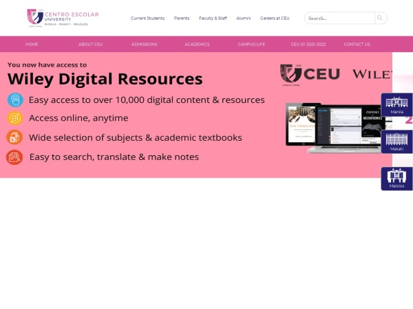 Screenshot of www.ceu.edu.ph