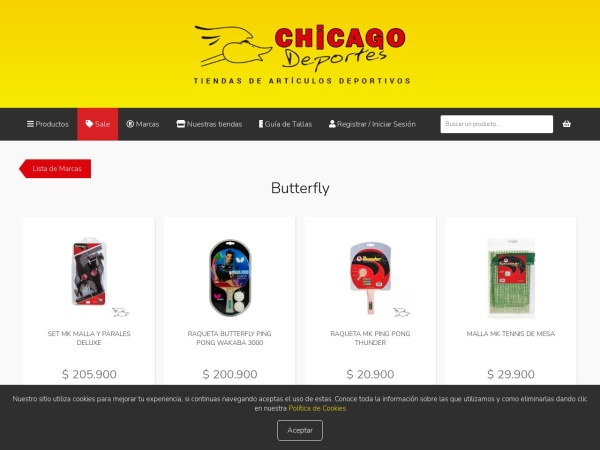 Captura de pantalla de www.chicagodeportes.com