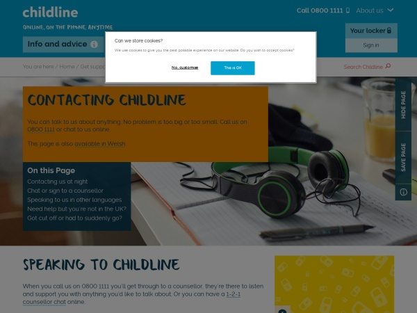 Childline Contact Page