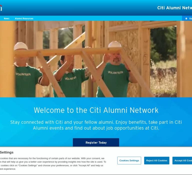 Screenshot of www.citialumninetwork.com
