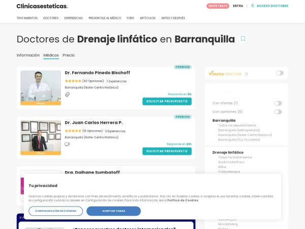 Captura de pantalla de www.clinicasesteticas.com.co