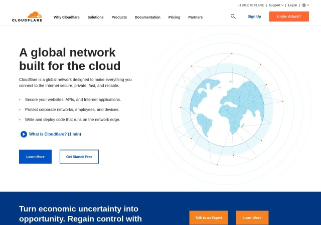 Screenshot of www.cloudflare.com