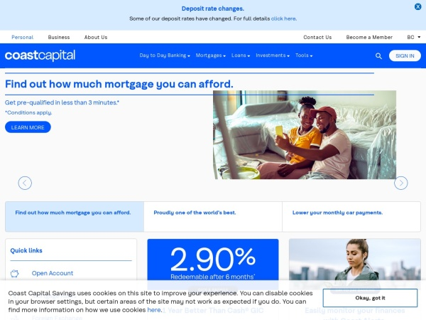 Screenshot of www.coastcapitalsavings.com