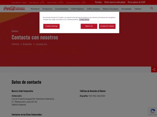 Captura de pantalla de www.cocacolaep.com
