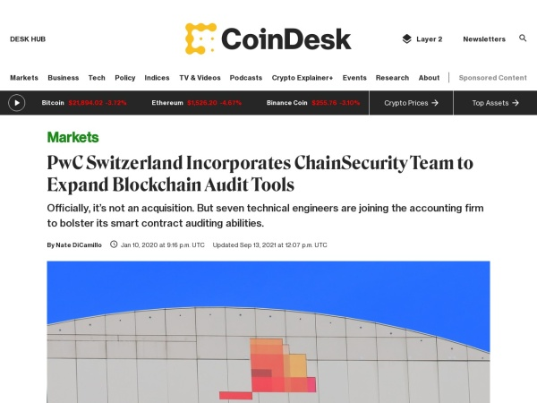 Screenshot of www.coindesk.com