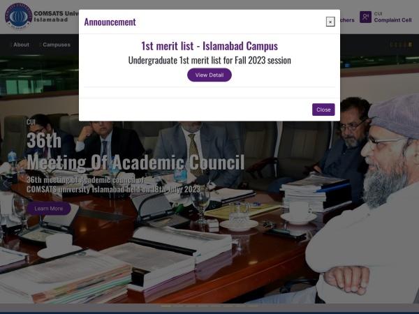Screenshot of www.comsats.edu.pk