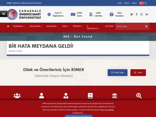 Screenshot of www.comu.edu.tr