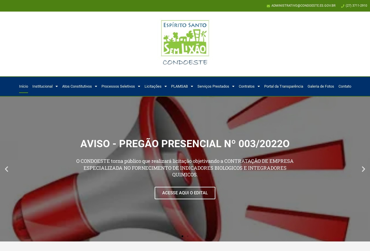 Screenshot of www.condoeste.es.gov.br