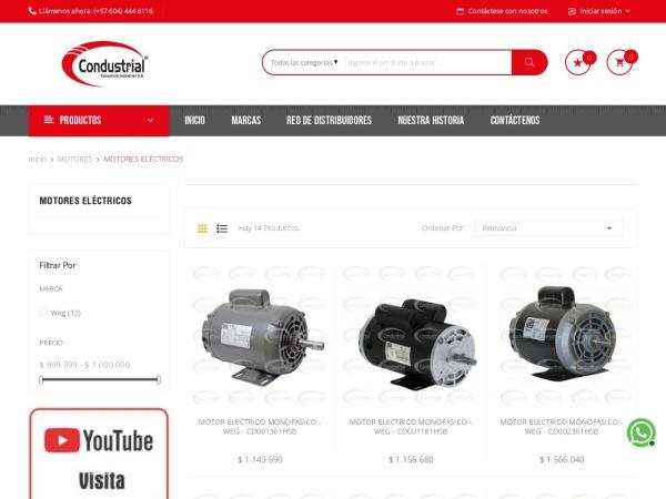 Captura de pantalla de www.condustrial.com.co