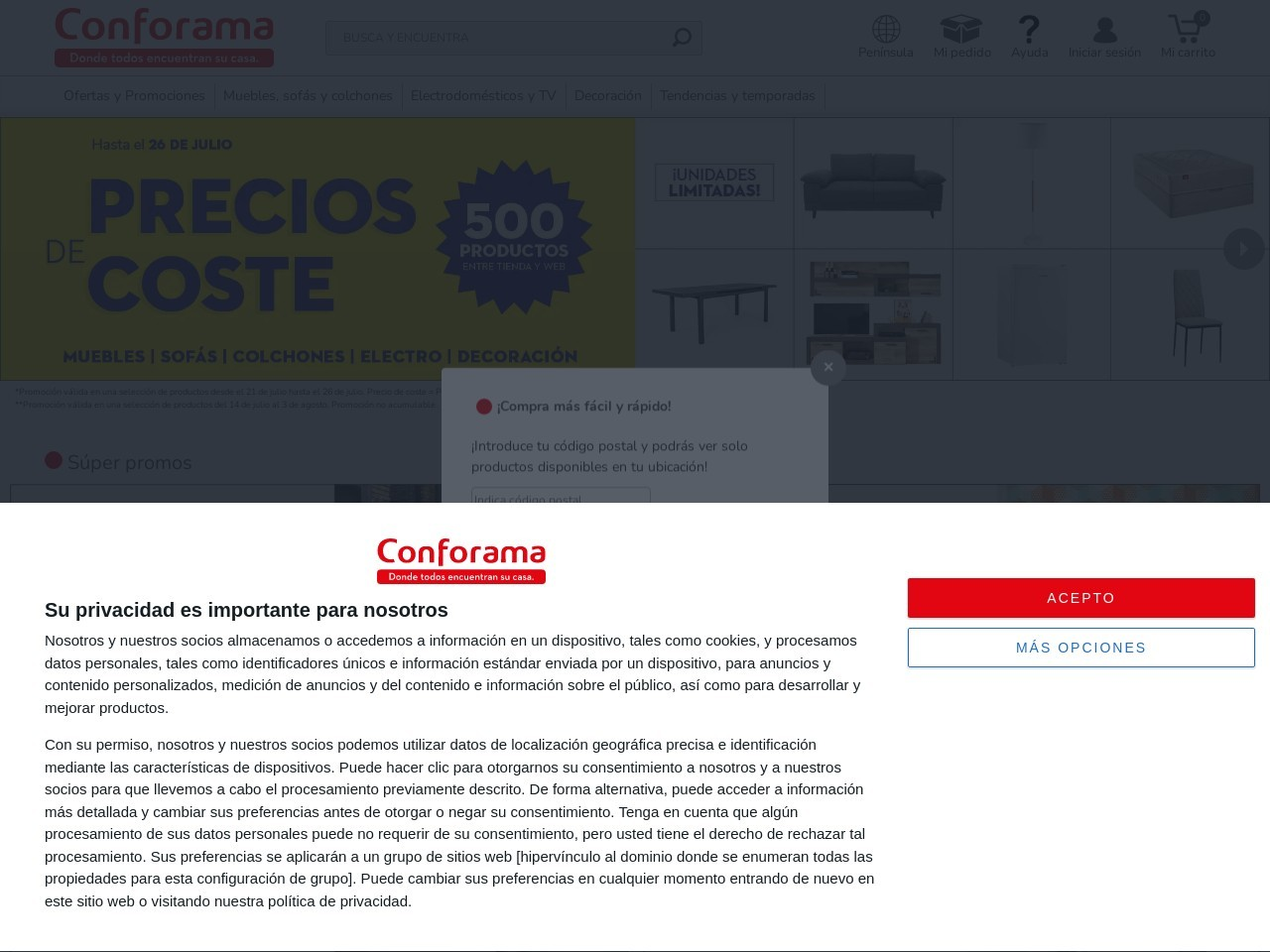 Captura de pantalla de www.conforama.es