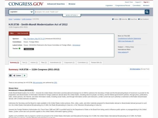 Kuvakaappaus www.congress.gov
