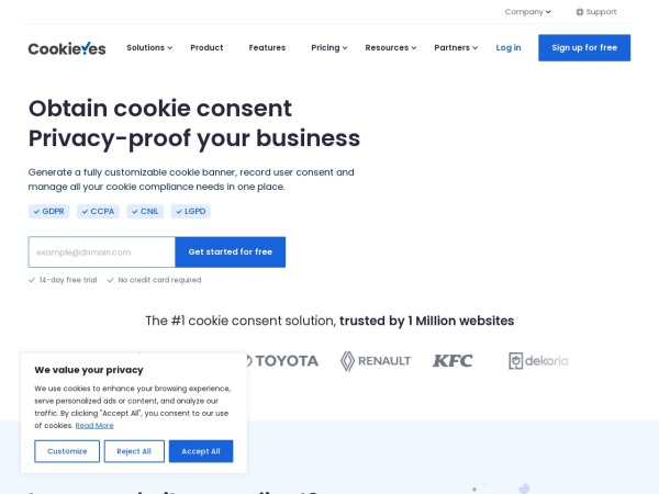 Screenshot of www.cookieyes.com