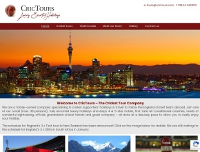 Screenshot of www.crictours.com