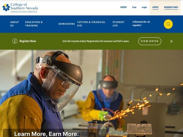 Screenshot of www.csn.edu