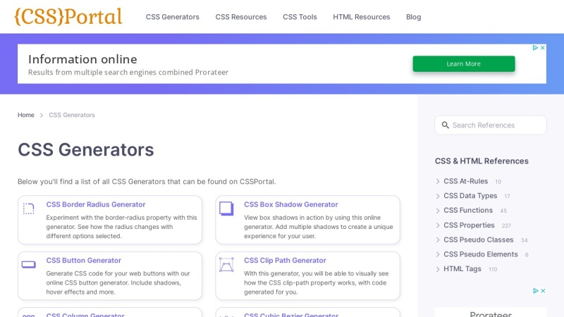 Screenshot von www.cssportal.com