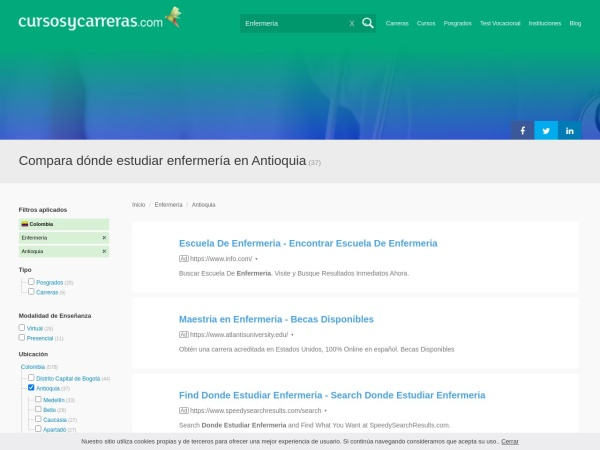 Captura de pantalla de www.cursosycarreras.co