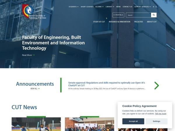 Screenshot of www.cut.ac.za