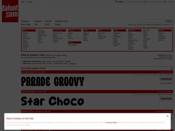Screenshot of www.dafont.com