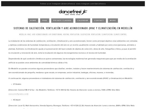 Captura de pantalla de www.dancefree.com.co