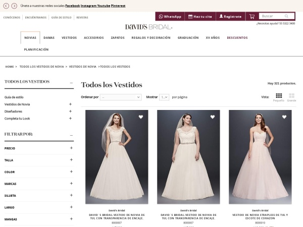 Captura de pantalla de www.davidsbridal.com.mx
