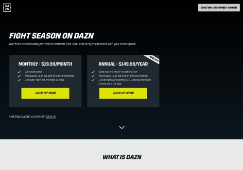 Screenshot of www.dazn.com