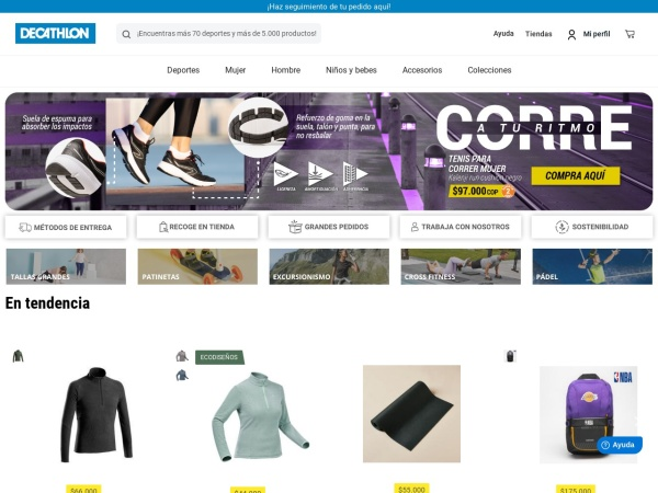 Captura de pantalla de www.decathlon.com.co