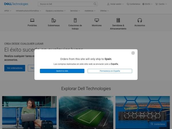 Captura de pantalla de www.dell.com