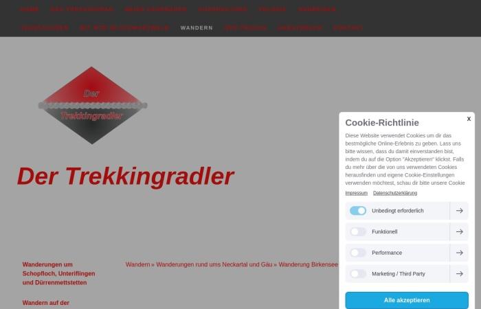 Screenshot von www.dertrekkingradler.de
