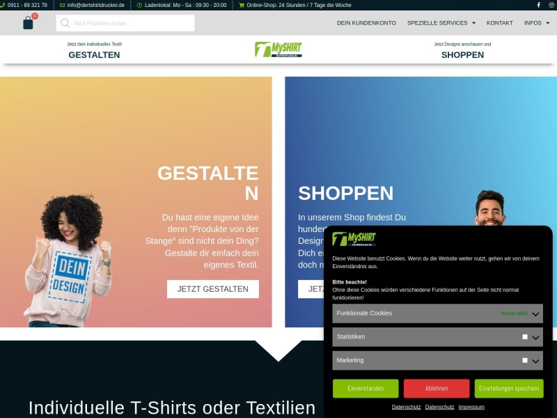 Screenshot of www.dertshirtdrucker.de