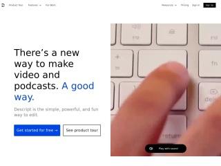 Screenshot of www.descript.com