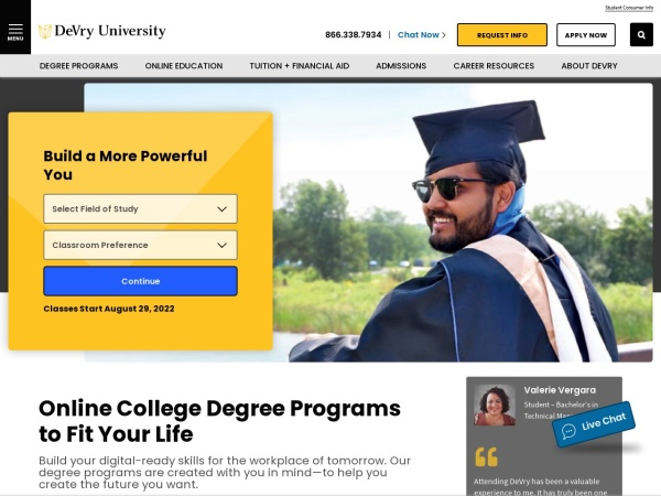 Screenshot of www.devry.edu