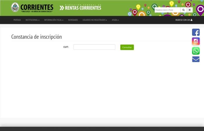 Captura de pantalla de www.dgrcorrientes.gov.ar