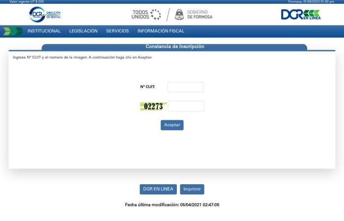Captura de pantalla de www.dgrformosa.gob.ar