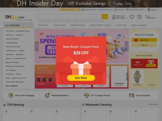 Screenshot of www.dhgate.com