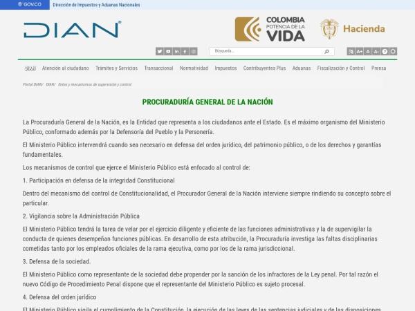 Captura de pantalla de www.dian.gov.co