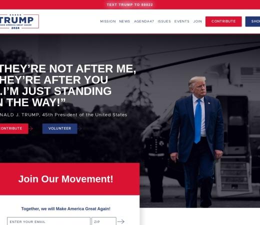 Screenshot of www.donaldjtrump.com