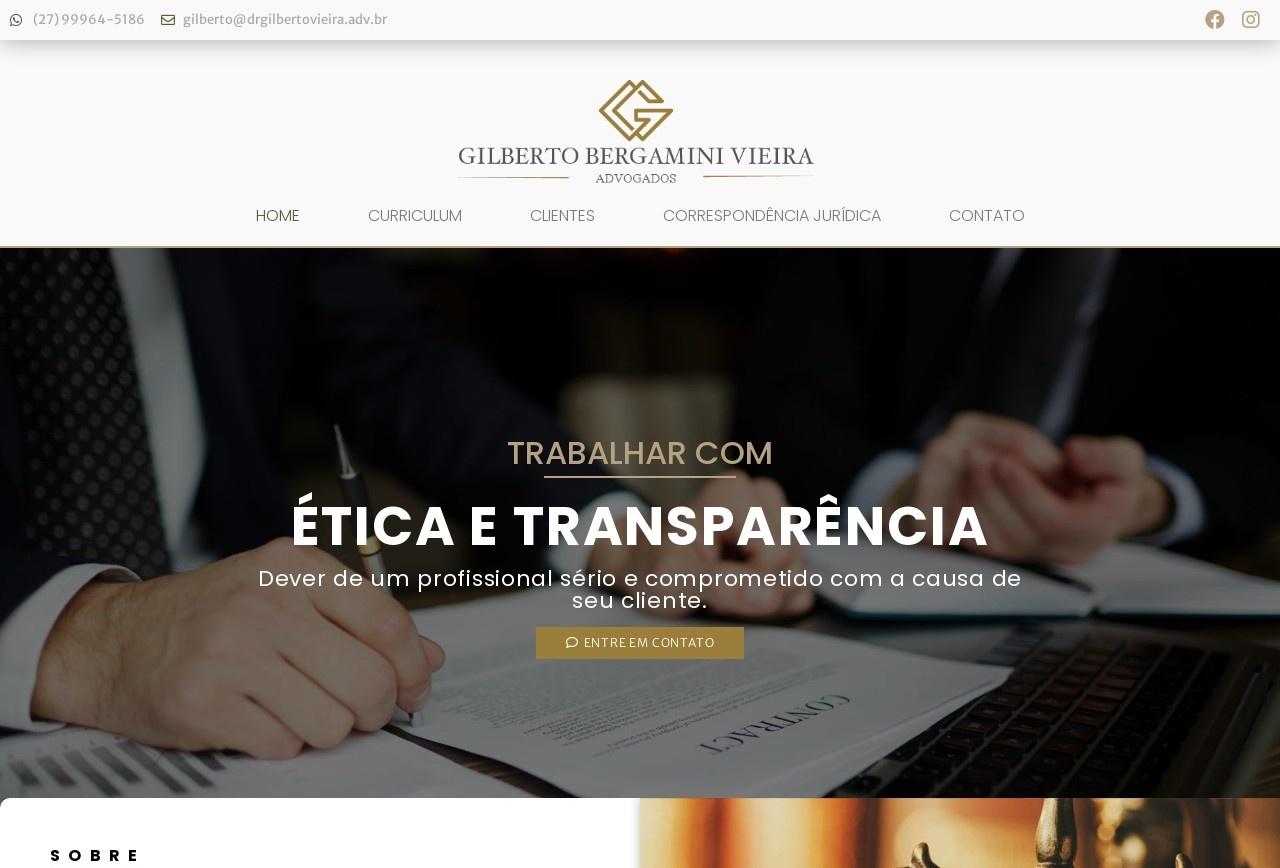 Screenshot of www.drgilbertovieira.adv.br